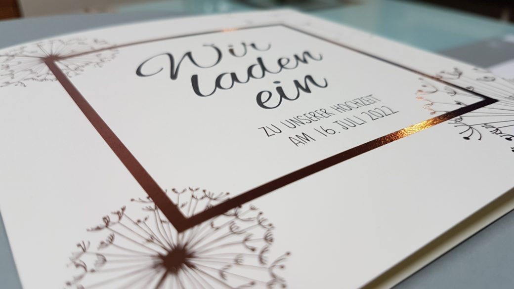 Roségold Folie Einladungskarte Hochzeit Pusteblume