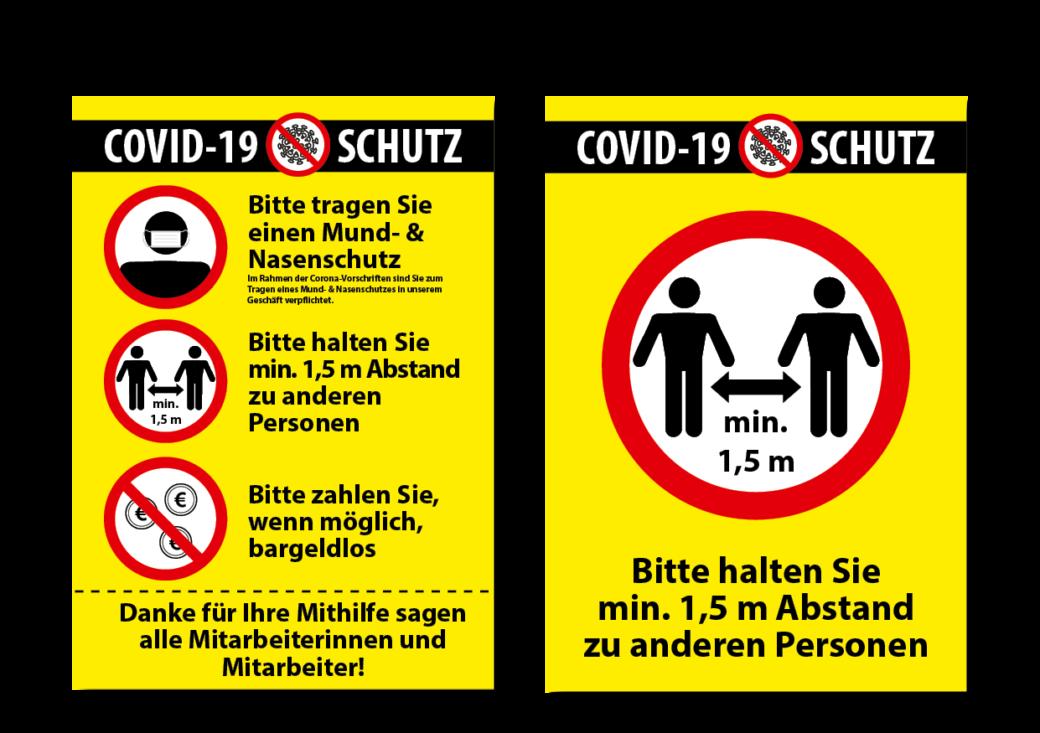 Plakate, Schilder mit Schutzhinweisen zu Corona-Maßnahmen imit verschiedenen Motiven.