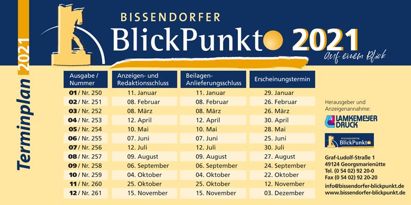 Bissendorfer Blickpunkt Terminplan 2021
